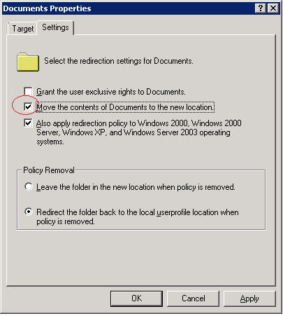 Group policy folder redirection generates error the system call level